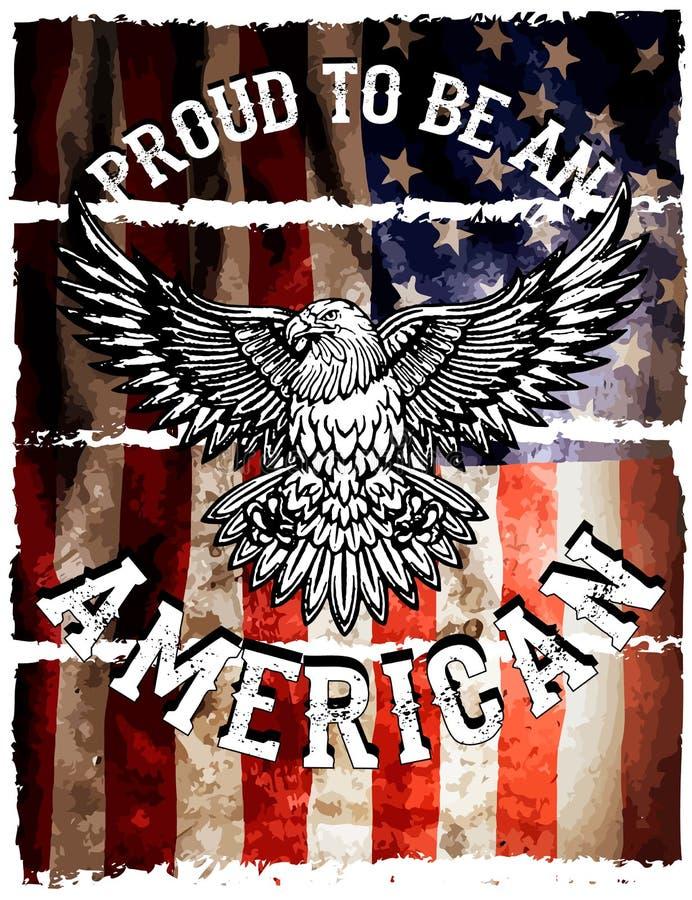 Flaga amerykańskiej i orła grunge ilustracji