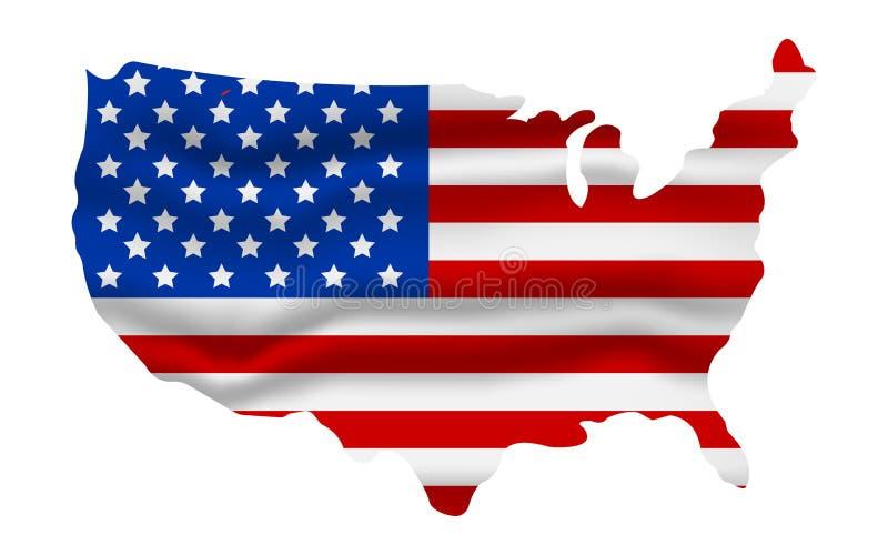 Flaga amerykańskiej ikona Szczęśliwy 4 Lipiec th i dzień niepodległości obcy kreskówki kota ucieczek ilustraci dachu wektor ilustracji