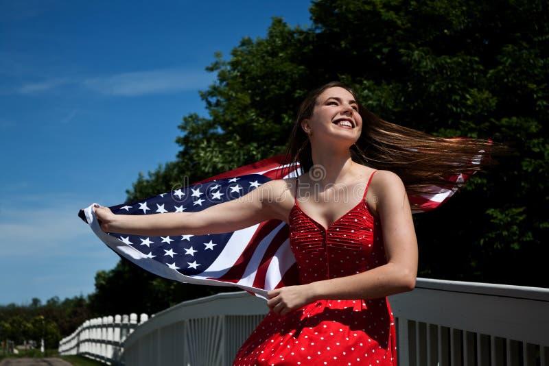 flaga amerykańskiej kobieta zdjęcia stock