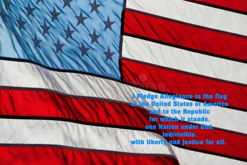 Flaga Amerykańskiej przyrzeczenie hołdownictwo obraz stock