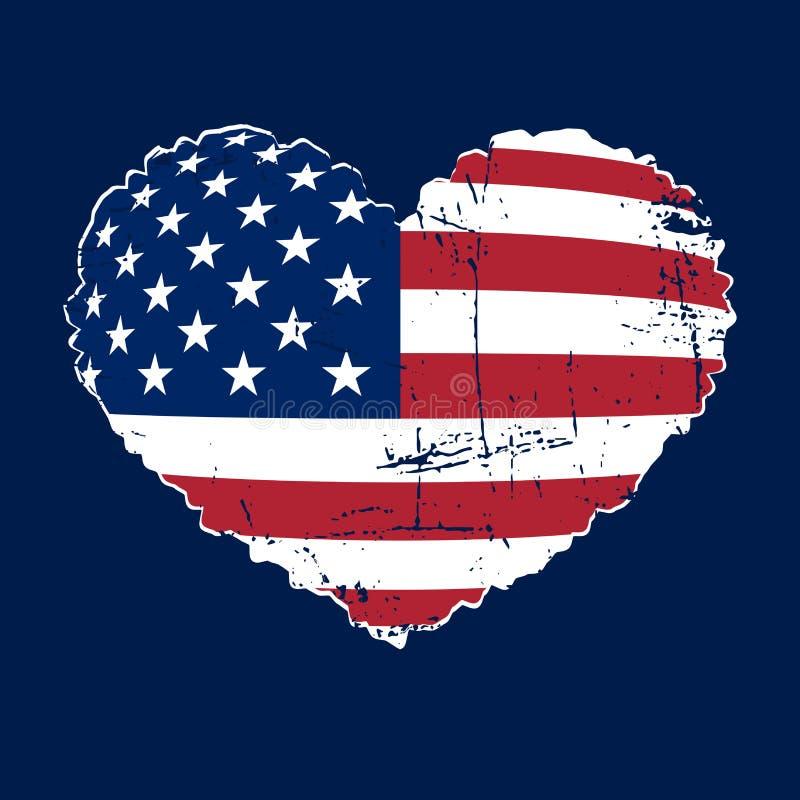 Flaga amerykańskiej serca grunge ilustracja wektor