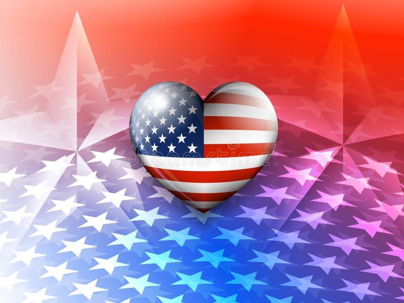 Flaga Amerykańskiej serce i gwiazdy Ameryka tło royalty ilustracja