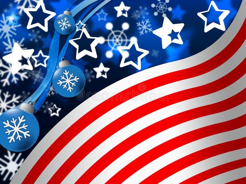 Flaga Amerykańskiej tła sposobów Snowing stany I zima ilustracja wektor