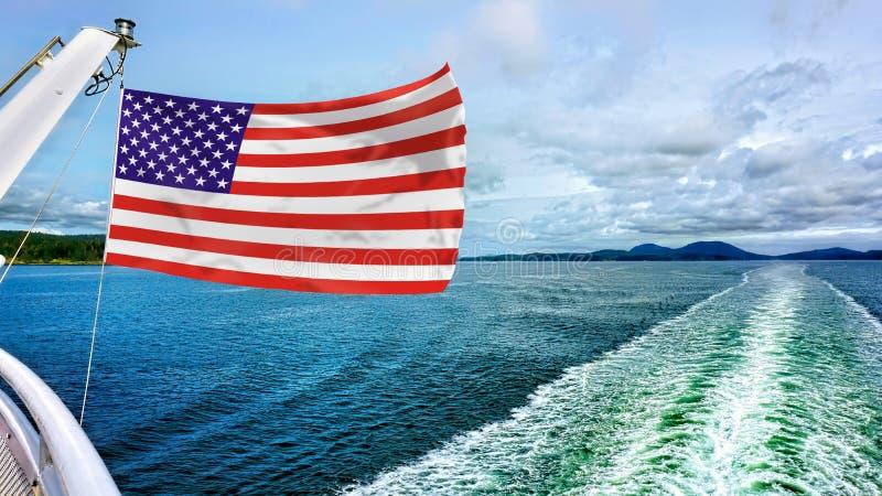 Flaga ameryka?skiej latanie zdjęcie royalty free