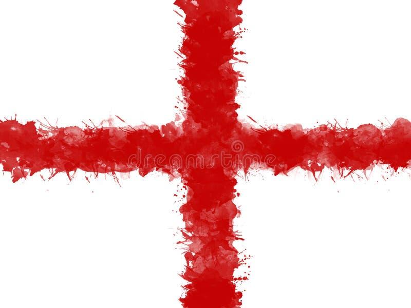 Flaga Anglia akwareli farby muśnięciem, grunge styl royalty ilustracja