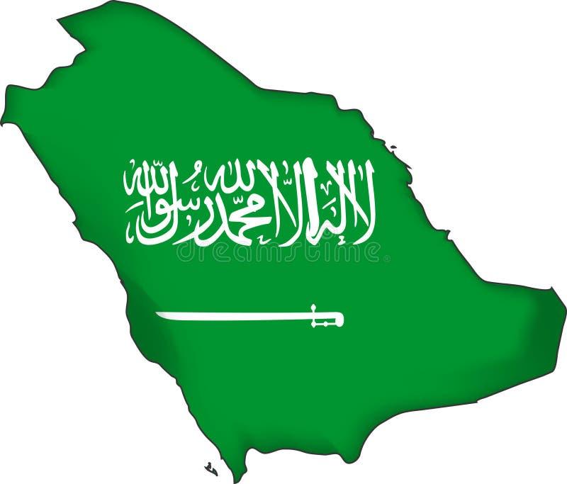 flaga arabii saudyjskiej mapy wektora ilustracja wektor