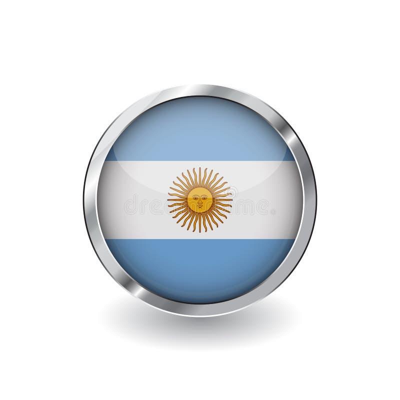 Flaga Argentina, guzik z metal ramą i cieniem argentina zaznacza wektorową ikonę, odznakę z glansowanym skutkiem i kruszcową gran royalty ilustracja