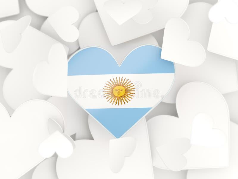 Flaga Argentina, serce kształtował majcherów ilustracji
