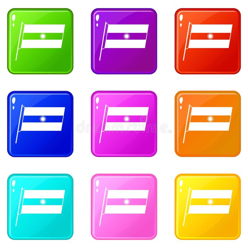 Flaga Argentyna ikon 9 set ilustracji