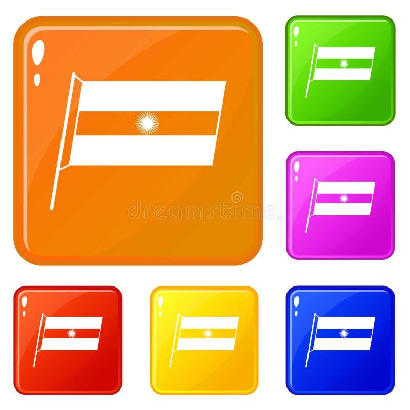 Flaga Argentyna ikona ustawiający wektorowy kolor ilustracja wektor