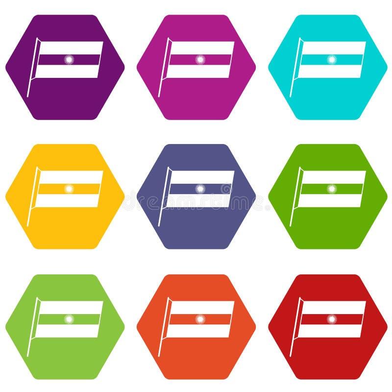 Flaga Argentyna ikony koloru ustalony sześciobok royalty ilustracja