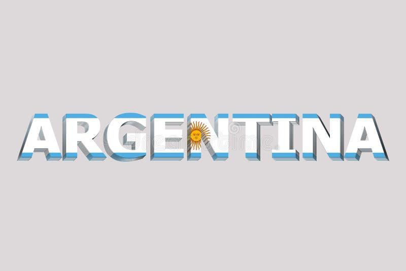 Flaga Argentyna na tekscie royalty ilustracja