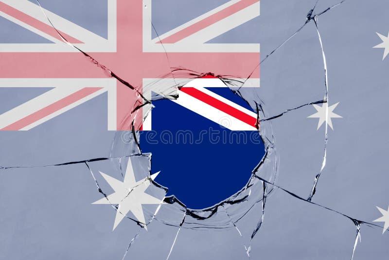 Flaga Australia na szkle royalty ilustracja