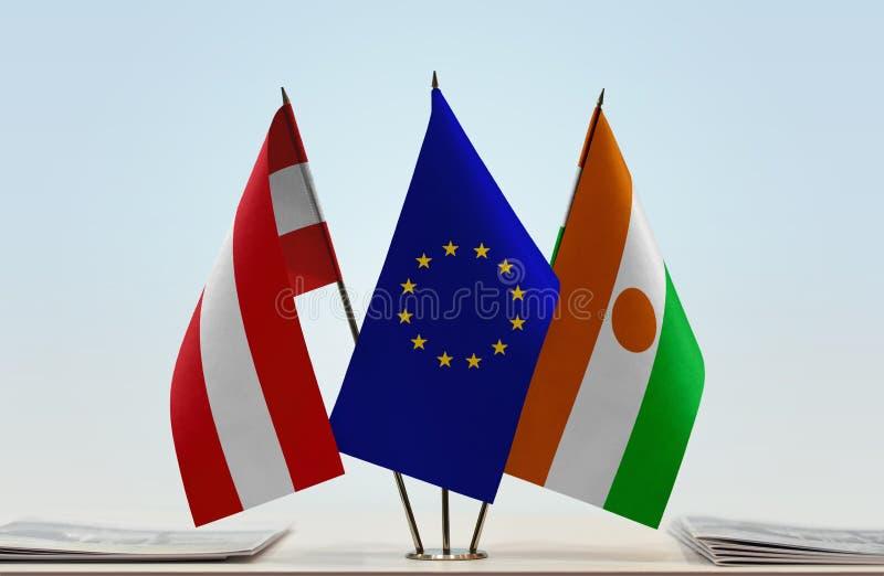 Flaga Austria Europejski zjednoczenie Niger i zdjęcie stock
