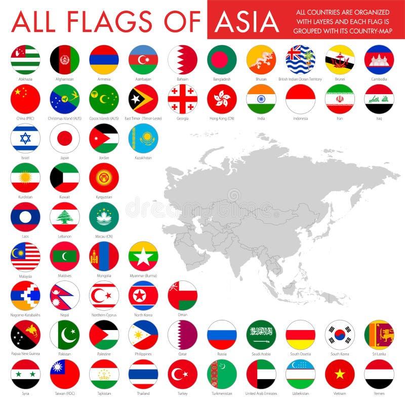 Flaga Azja kurenda royalty ilustracja