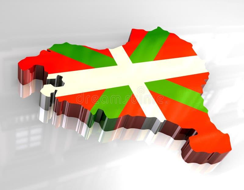 flaga baska mapy 3 d ilustracja wektor