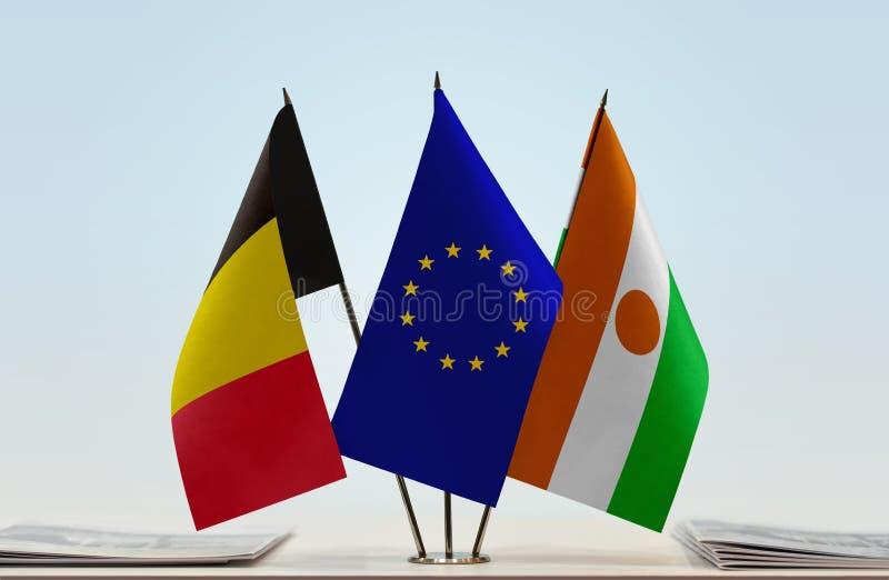 Flaga Belgia Europejski zjednoczenie Niger i obrazy royalty free