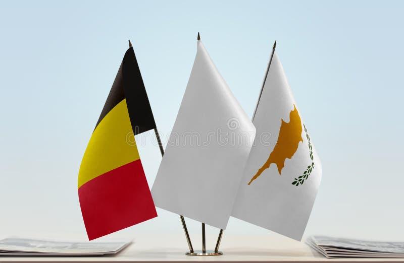 Flaga Belgia i Cypr zdjęcie royalty free