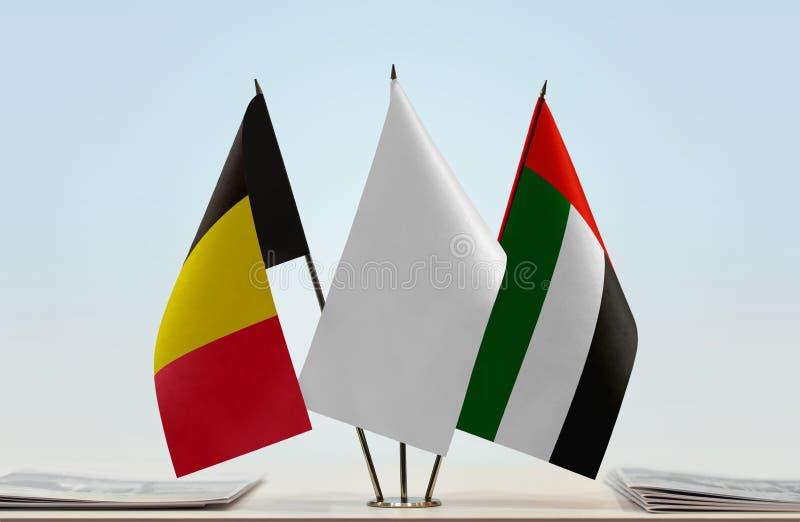 Flaga Belgia i UAE obrazy stock