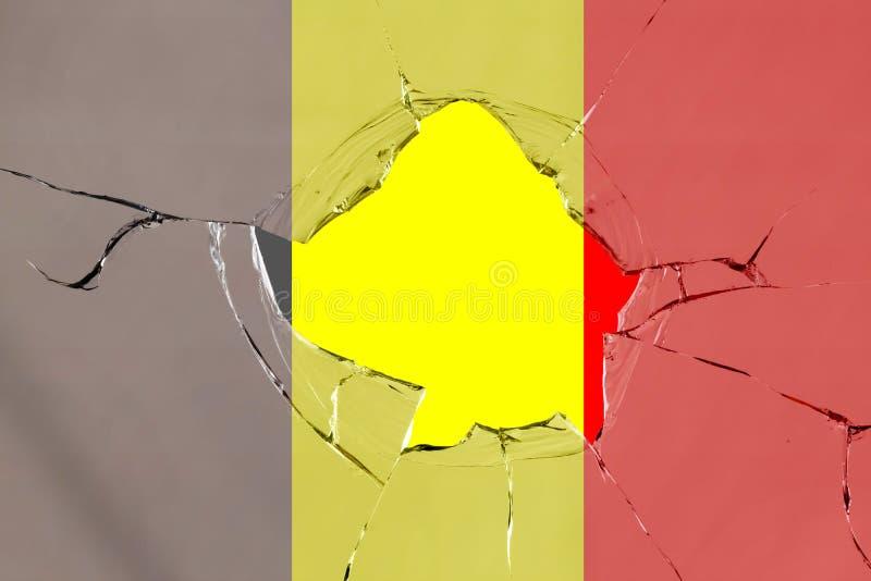 Flaga Belgia na szkle ilustracja wektor