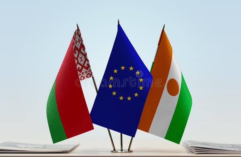 Flaga Białoruś Europejski zjednoczenie Niger i obraz stock