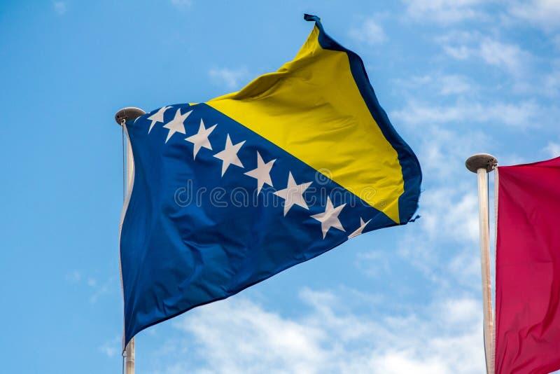Flaga Bośnia, Herzegovina flaga fliying w wiatrze - zdjęcie stock