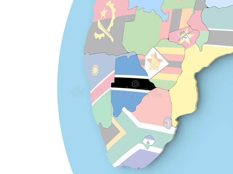 Flaga Botswana na politycznej kuli ziemskiej ilustracji