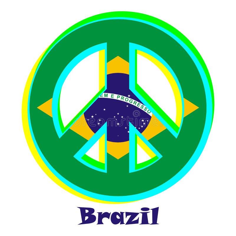 Flaga Brazylia jako znak pacyfizm ilustracji