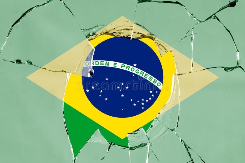 Flaga Brazylia na szkle ilustracja wektor