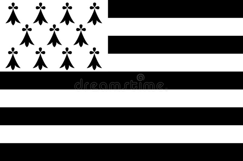 Flaga Brittany, Francja ilustracja wektor