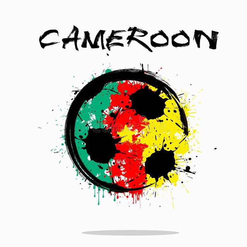 Flaga Cameroon jako abstrakcjonistyczna piłki nożnej piłka royalty ilustracja