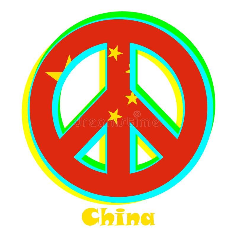 Flaga Chiny jako znak pacyfizm royalty ilustracja