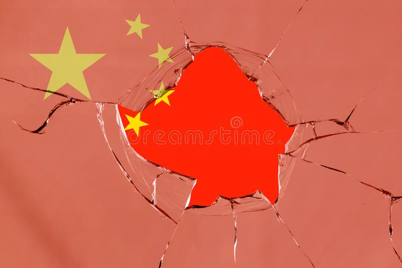 Flaga Chiny na szkle ilustracja wektor