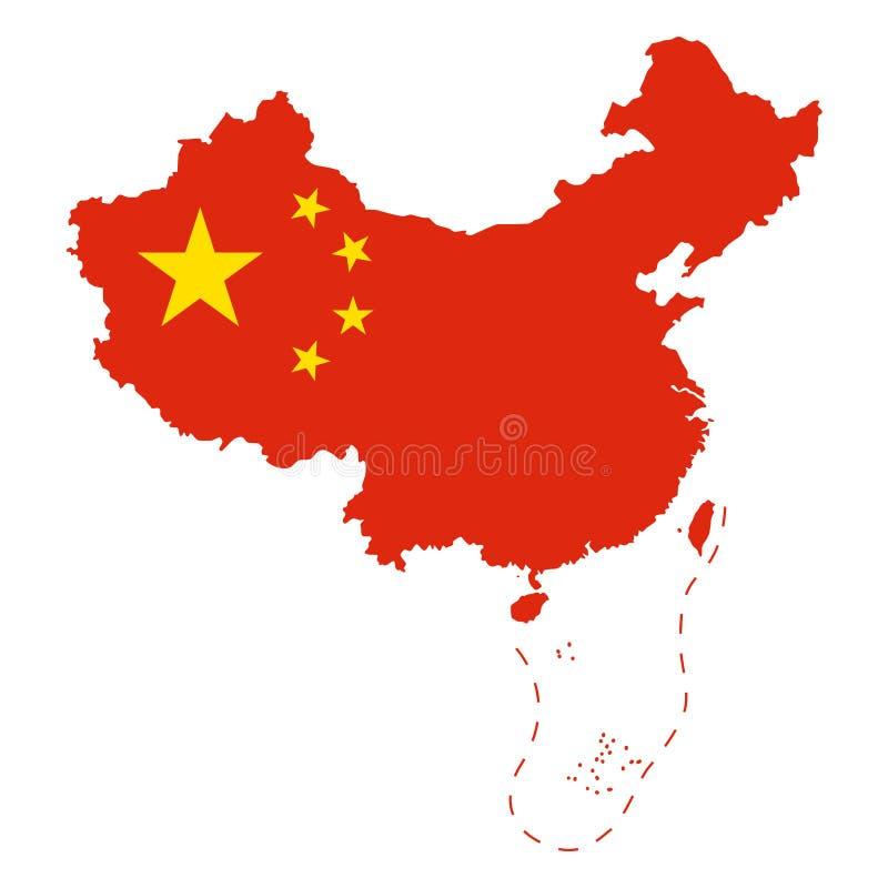 Flaga Chiny w kraju konturze nad bielem royalty ilustracja