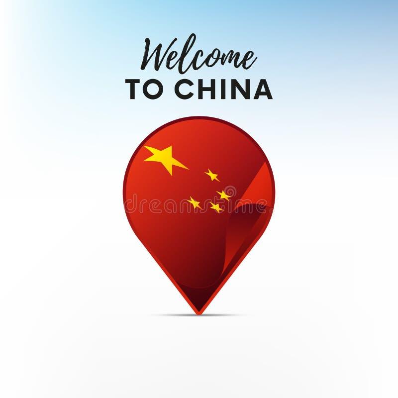 Flaga Chiny w kształcie mapa markier lub pointer z porcelany wektor ilustracji
