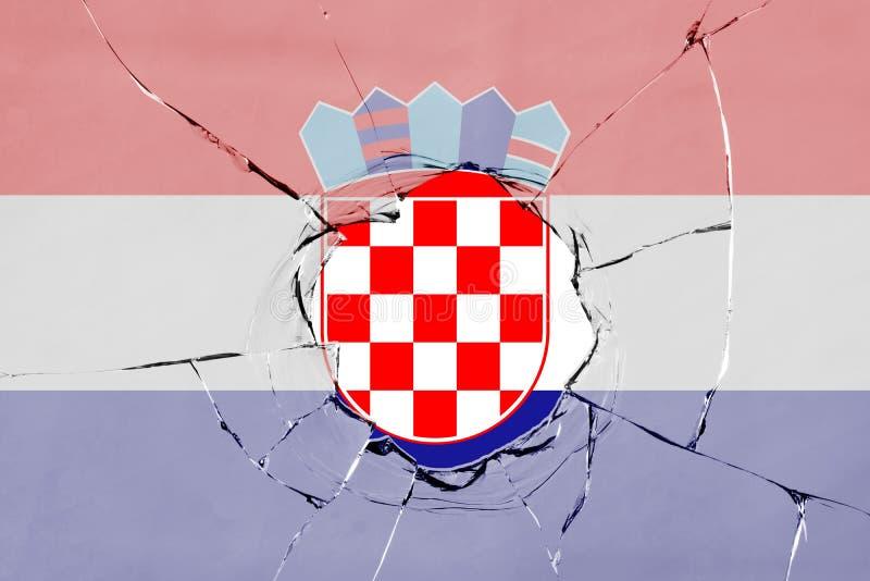 Flaga Chorwacja na szkle ilustracji