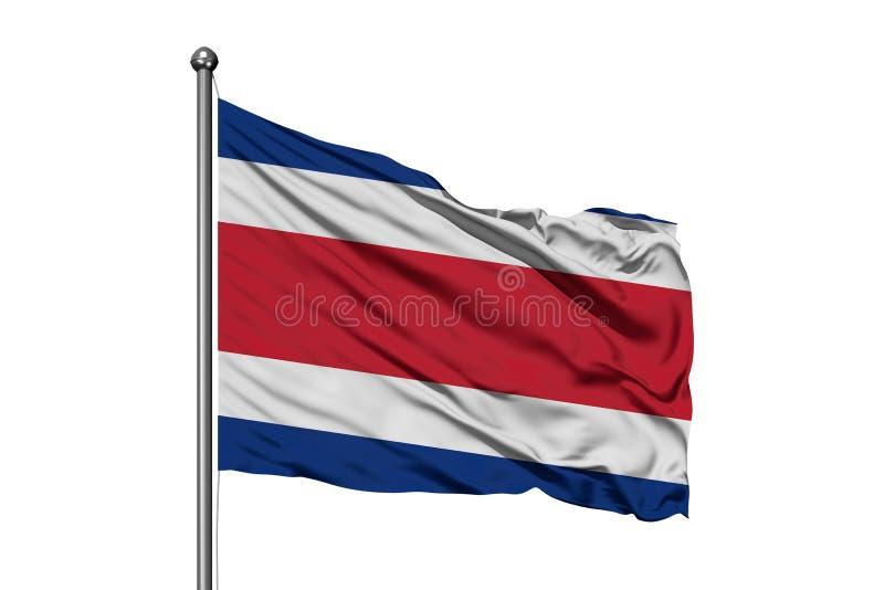 Flaga Costa Rica falowanie w wiatrze, odosobniony biały tło Costa Rican flaga ilustracja wektor