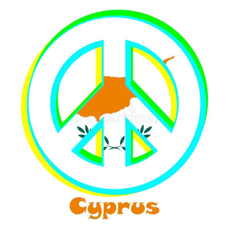 Flaga Cypr jako znak pacyfizm royalty ilustracja
