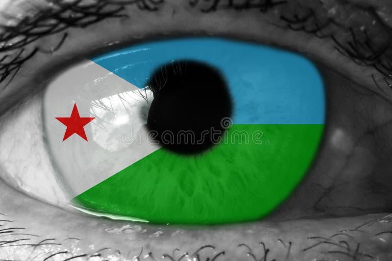 Flaga Dżibuti w oku obraz royalty free