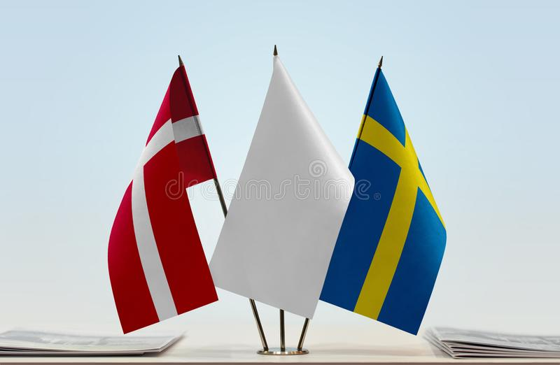 Flaga Dani i Szwecja obrazy royalty free