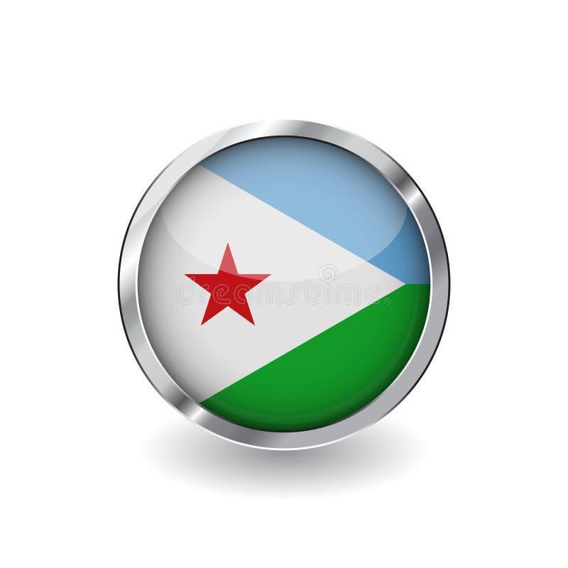 Flaga Djibouti, guzik z metal ramą i cieniem djibouti zaznacza wektorową ikonę, odznakę z glansowanym skutkiem i kruszcową granic ilustracja wektor