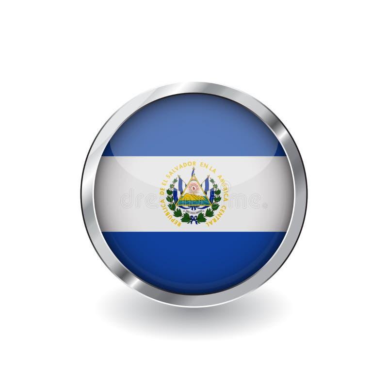 Flaga el Salvador, guzik z metal ramą i cieniem el Salvador flaga wektorowa ikona, odznaka z glansowanym skutkiem i kruszcowy bor ilustracji