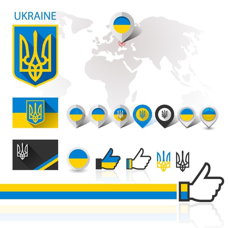 Flaga, emblemat Ukraina i Światowa mapa, royalty ilustracja