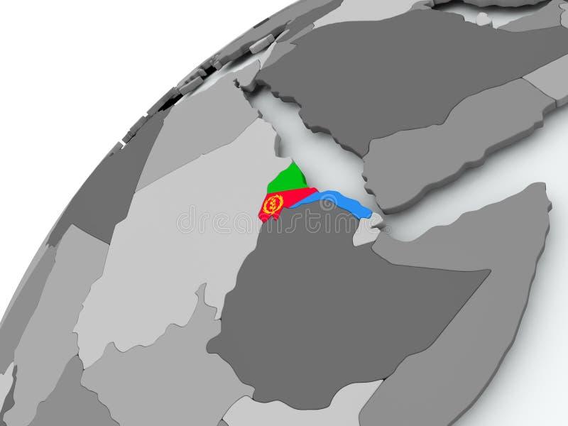 Flaga Erytrea na popielatej kuli ziemskiej royalty ilustracja