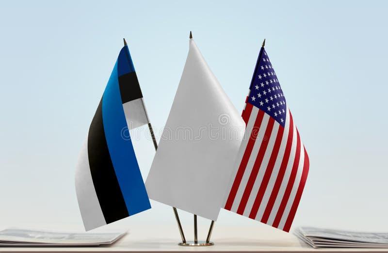 Flaga Estonia i usa fotografia royalty free