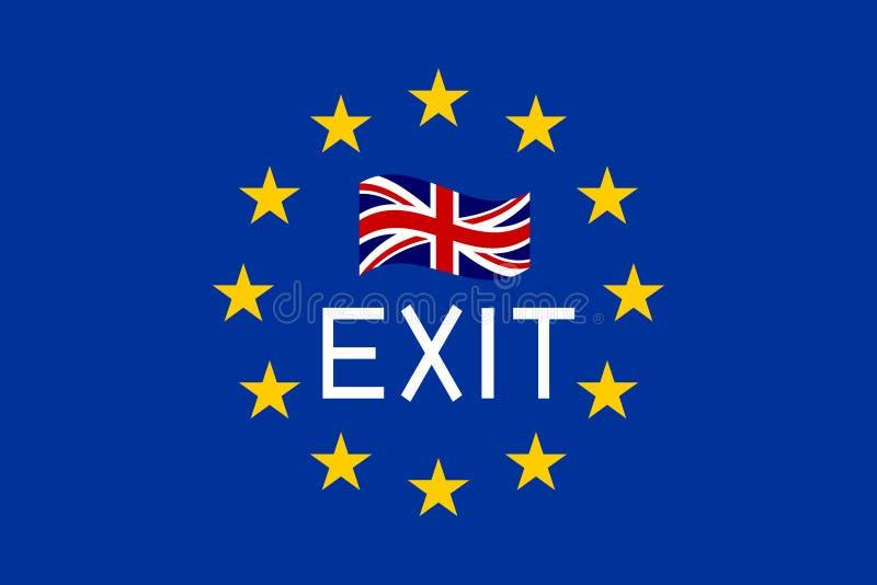Flaga Europa i Zjednoczone Królestwo z słowem Wychodzą ilustracja wektor