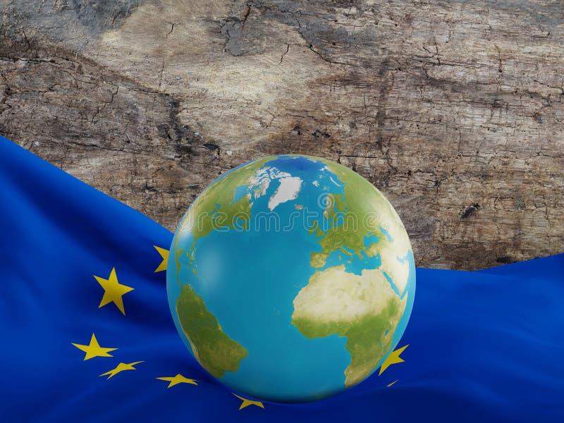 Flaga Europa z planety ziemi kulą ziemską i światową mapą Elementy o ilustracji