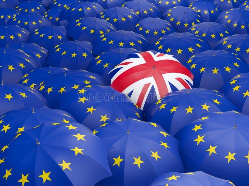 Flaga Europejski zjednoczenie i Zjednoczone Królestwo Brexit pojęcie royalty ilustracja