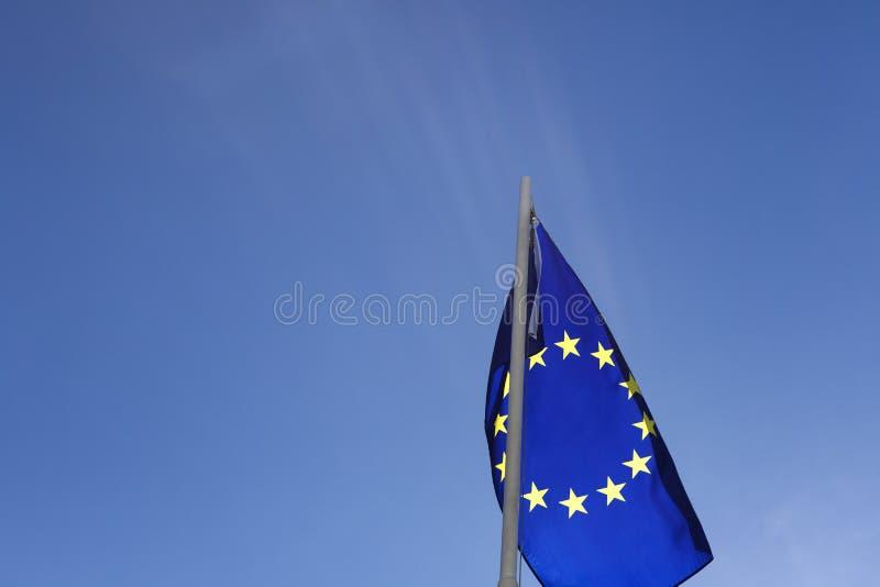Flaga Europejski zjednoczenie na flagpole fotografia stock