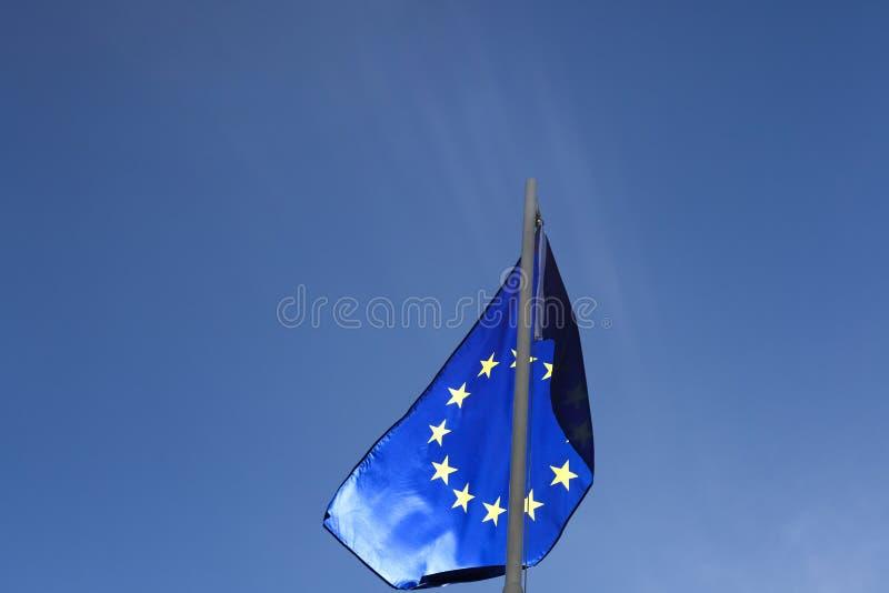 Flaga Europejski zjednoczenie na flagpole zdjęcie stock